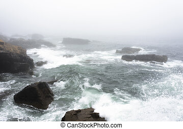 Morning Sea Waves - Fogged in Morning Waves at Acadia...