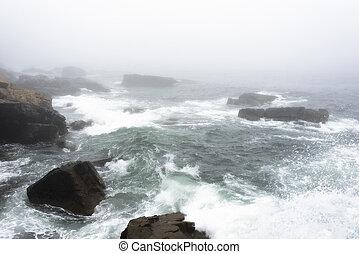 Morning Sea Waves - Fogged in Morning Waves at Acadia...