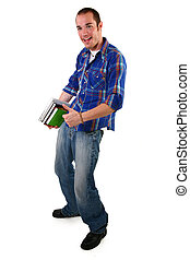 Thumbs Up - Attractive young man holding books and laptop...