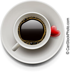 Cup of coffee top view. Valentine's day - Cup of coffee with...