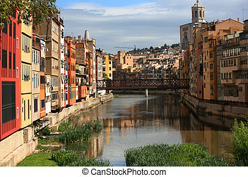 Gerona - typical view of girona in catalonia, the river...