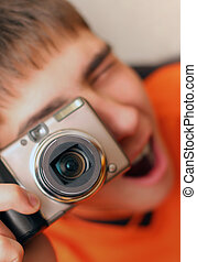 Teenager With Photo camera - Excited Teenager with Photo...