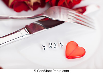 Romantic dinner. Setting for valentines day. - Setting for...