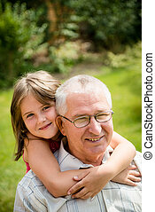 Happy grandfather with grandchild - Outdoor lifestyle...