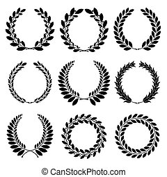 Laurel wreath - Set from black laurel wreath on the white...