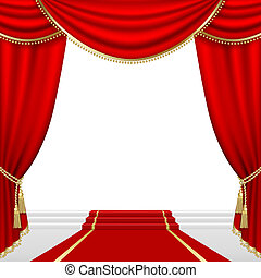 Theater stage Mesh - Theater stage with red curtain Clipping...