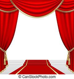 teatro, fase, malha