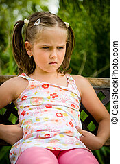 Offended child - Portrait of small offended child - outoor...