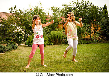 Happy childhood - dancing children - Active childhood -...