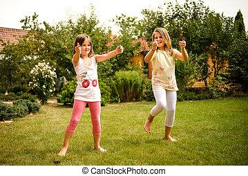 Happy childhood - dancing children - Active childhood -...