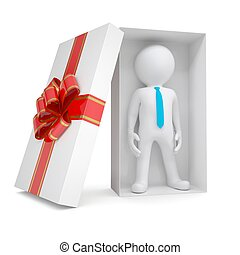 3d white man in gift box. Isolated render on a white...