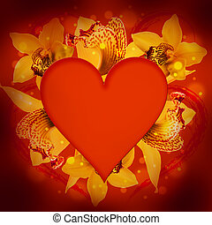 St Valentines Day, heart from orchids and butterflies