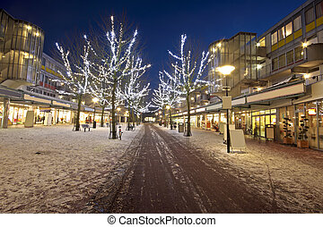 Shopping center at christmas time at night in Amsterdam the...