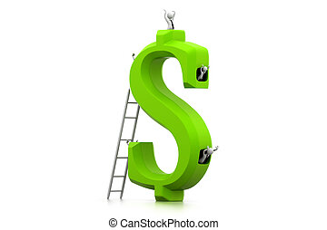 Business people in dollar symbol