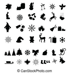 Christmas icon - Silhouettes of Different Christmas icon
