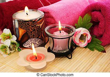 Towels, flowers, candles - Towels, candles and flowers on...