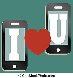 Valentine text message concept - A mobile phone valentine...