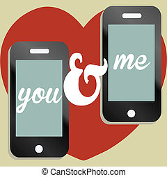 Valentines day text message concept - A mobile phone...