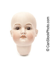 Head of porcelain doll isolated on white background