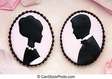 Bride and groom cookies - Bride and groom cameo cookies