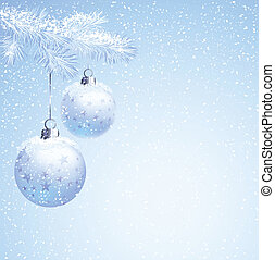 blue balls - Blue christmas balls hanging from fir-tree...