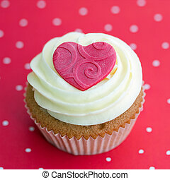 Valentine cupcake - Cupcake decorated with a red fondant...
