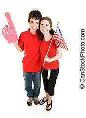 Teen Couple - Loyal Supporters - Attractive teen couple...