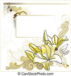 lilies  - Background with a drawn lilies and decoration