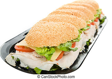 Three Foot Turkey Sandwich - Closeup view of a giant three...