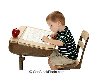 Left Handed Student - A left handed student practices...
