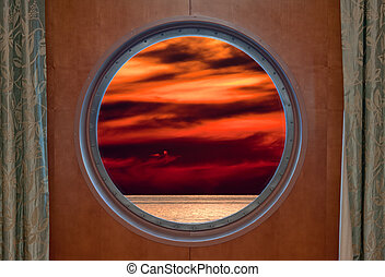 Sunset Through Porthole - View of a sunset through a cruise...