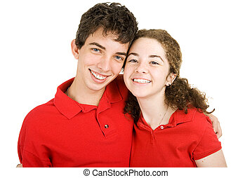 High School Sweethearts - Portrait of an adorable teenaged...