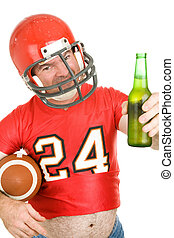 Sports Fan - Have a Cold One - Middle aged football fan...