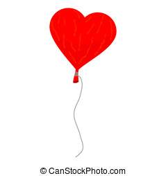 Heart shape ballon - Red balloon in the shape of a heart on...
