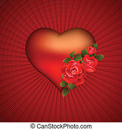 heart  - big heart with red flowering roses