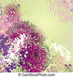 chrysanthemums - grunge greeting-card with decorative...