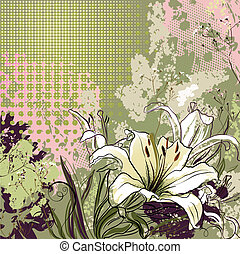 lilies  - grunge greeting-card with decorative white lilies