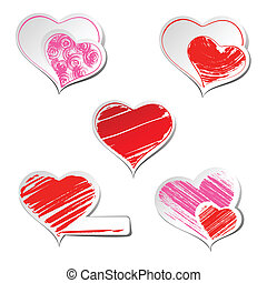 hearts  - Set of five hearts sticker