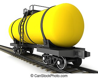 Yellow railroad tank wagon on a white background