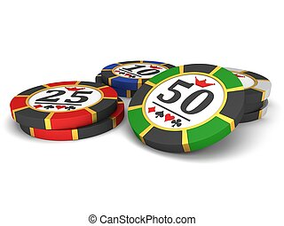 Casino chips on a white background.