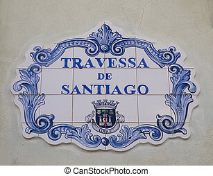 Ceramic steet sign in the Portuguese town of Louleacute;,...