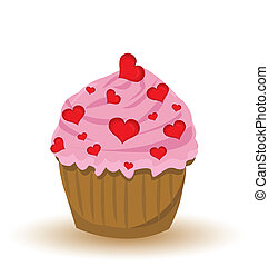 Vector Cupcake whit hearts