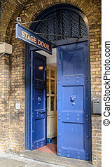 Stage door at one of the London theatres