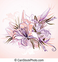 lilies - decorative composition with big drawing lilies