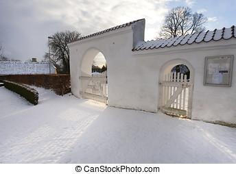 White medieval church in Svindinge, Denmark