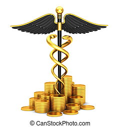 Black caduceus medical symbol