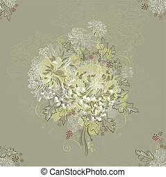 ornament - seamless ornament with bouquets of chrysanthemums...