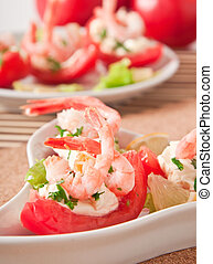 shrimp cocktail - Halves of tomatoes filled with shrimp...