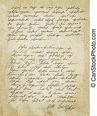 Old letter with vintage handwriting. Grunge. - Old letter...