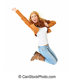 Jumping with joy - A picture of a young happy woman jumping...